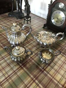 Antiques Barker Ellis Silver Plated Tea Coffee Set