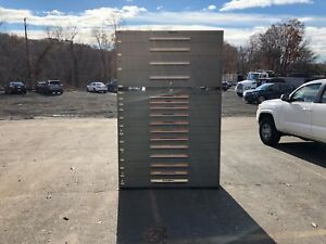 Stanley Vidmar Double Wide Industrial Cabinet Double Stacked 16 drawers