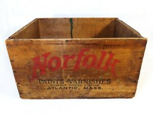 Early 20th C Vint Wood Box Crate Norfolk Paints Varnishes Atlantic Quincy Ma
