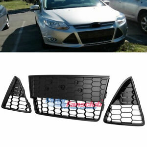 3pcs Front Bumper Lower Grille Grills Black For Ford Focus 2012 2013 2014