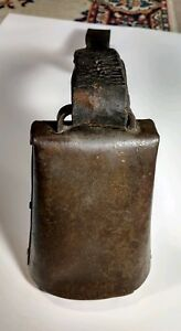Large Antique Hand Forged Brass Bronze Cow Bell With Original Leather Strap