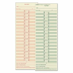 Time Card For Cincinnati lathem simplex acroprint Semi monthly 500 box
