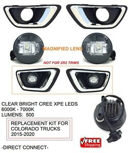 Bright Led Replacement Fog Light Kit For 2015 16 17 18 19 20 Chevrolet Colorado
