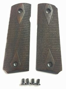 ORIGINAL Colt M1911 Double Diamond Wood Grips Checkered WWI military 1911-1924