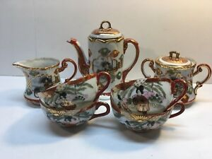 Antique Meiji Japanese Kutani Tea Set Signed Porcelain Geisha Hand Painted