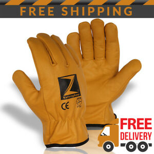 X10 Pairs Z safety gear Fleece Lined Leather Winter Thermal Cold Work Gloves Ppe