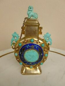 Chinese Hi Grade Silver Moon Flask Vase W Turquoise Pearls Cloisonne