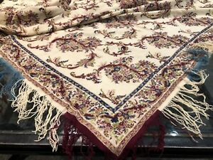 Antique Kashmir Paisley Shawl Print Norwich Butehs 19th C 74 X 72