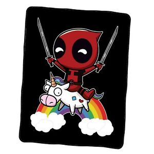 Deadpool Riding A Unicorn Custom Blanket