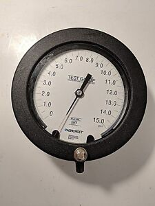 A279 Ashcroft 15 Psi Test Pressure Gauge 7 1 2 Face Accuracy 3a Nos