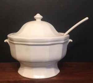 Antique White Ironstone Large Deep Tureen W Ladle Excellent