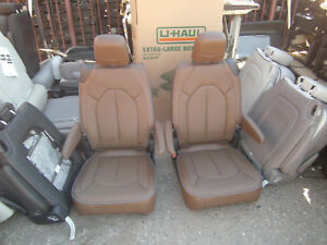 New Takeouts 2 Bucket Seats Brown Leather Classic Car Jeep Hotrod Bus Van Truck