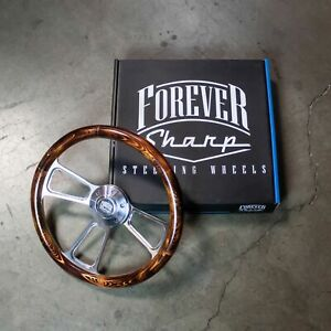 14 Polished Flaming Pine Muscle Steering Wheel
