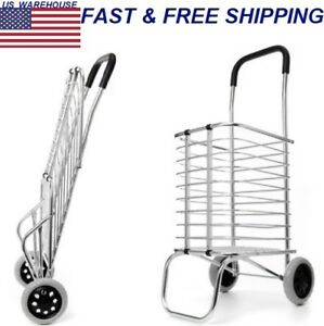 Shopping Basket Cart Trolley Folding Portable Trailer Two Wheels Aluminum Alloy