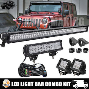 52inch 900w Led Light Bar 2x 18w Pods 12 For 2007 2018 Jeep Wrangler Jk 50
