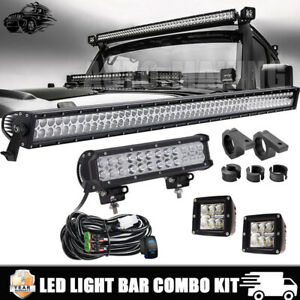 52inch Led Light Bar 36w Pods 12 For Jeep Wrangler Jk Tj Offroad Gmc Hummer 50