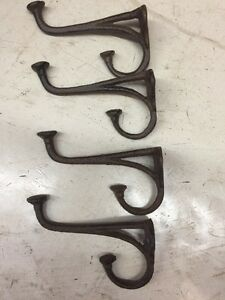 4 Small Brown 4 Cast Iron Harness Hat Hooks Rustic Farmhouse Style Shabby