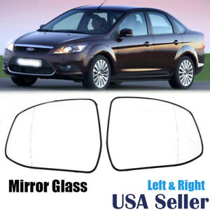 Left Right Door Wing Mirror Glass Heated White For Ford Focus Mondeo 2007 Up