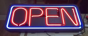 Vintage Big Neon Open Sign Restaurant Business Bar 35 1 2 Inches Wide bright
