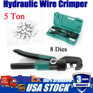 Hydraulic Wire Crimper W 10 Ton Battery Cable Lug Terminal Crimping Tool Green