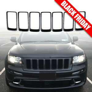 7x Black Front Grille Mesh Ring Insert Cover For Jeep Grand Cherokee 2014 2016