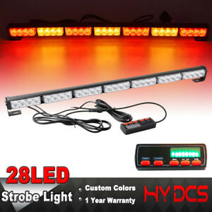 31 28 Led Flash Traffic Adviser Directional Arrow Strobe Light Bar Red Yellow A