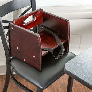 Wooden Child Restaurant Booster Seat Chair With Mahogany Finish