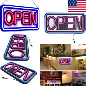 Rectangle Open Sign Led Square Hanging Neon Billboard Hang Light Outdoor Decor