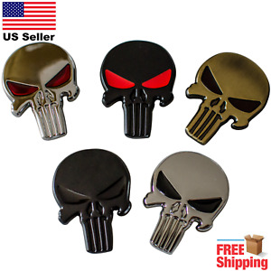 3d Metal Punisher Emblem Sticker Skull Badge Decal For Car Bike Truck Jeep