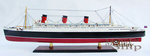 Rms Queen Mary Ocean Liner Wooden Model 40 Cruise Ship Fully Assembled Boat New