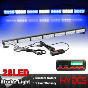 31 28 Led Flash Traffic Adviser Directional Arrow Strobe Lights Bar Blue White