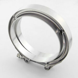 304 Stainless V Band Clamp Flange Male Female Assembly For 5 Od Exhaust Pipe