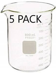 Corning Pyrex 1000 800 Glass 800ml Graduated Low Form Griffin Beaker 5 Pack