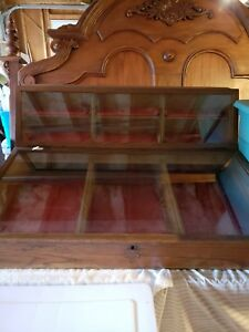 Vintage E c Simmons Keen Kutter Table wood And Glass Display Case