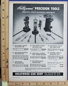 1953 HOLLYWOOD GUN SHOP Precision cartridge reloading tools Vtg Print Ad 10207