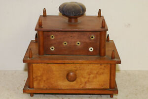 Shaker Style Wood Sewing Box Mid 19th Cent Some Accesories Pin Cushion