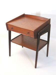 Vtg Mid Century Modern Mcm Danish Teak Svend Madsen Nbm Small Side Table Drawer