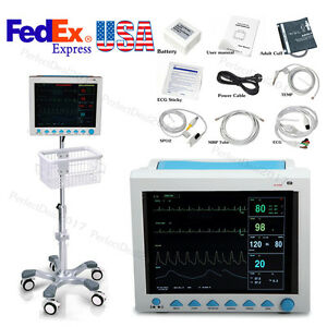 Icu Patient Monitor Vital Signs Monitor 6 Parameters With Stand Troller Cart