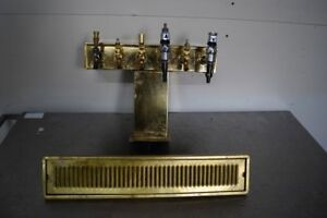 Brass 17 5 Beer Tower Tap Dispensor With Brass Drip Tray