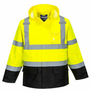 Portwest Us366 Hivis Reflective Contrast Waterproof Rain Safety Work Jacket Ansi