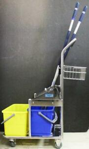 Micronova Stainless Steel Cart Double Bucket W Vileda Roll o matic Mop Lot 6330