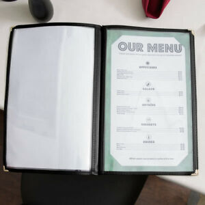 10 pack 8 1 2 X 14 Tall Black Four Pocket Clear Restaurant Menu Covers