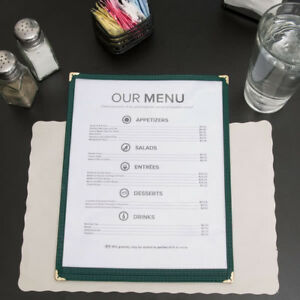 10 pack 8 1 2 X 11 Green Single Pocket Clear Restaurant Menu Covers