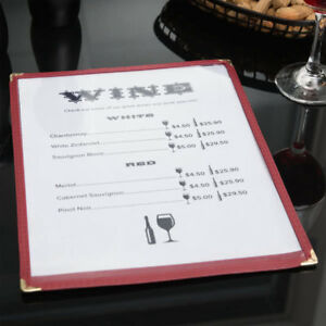 10 pack 8 1 2 X 11 Burgundy Single Pocket Clear Restaurant Menu Covers