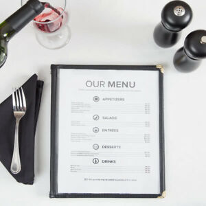 10 pack 8 1 2 X 11 Black Six Pocket Clear Restaurant Menu Covers