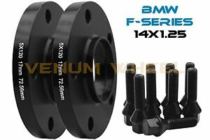 2 Bmw F series Models 12mm Black Wheel Spacers Hub Centric 14x1 25 Lug Bolts