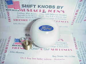 Ford Licensed Custom Shift Knob Oval Logo Car Truck Hot Rod White 2 1 8