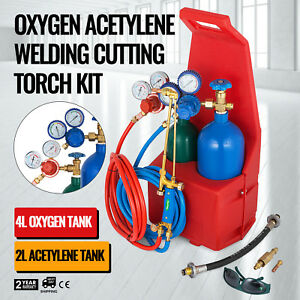 Portable Twin Tote Style Oxygen Acetylene Tank Welding Cutting Torch Starter Set