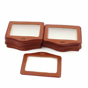 Office Horizontal Business Id Badge Card Holder Brown Clear 25pcs