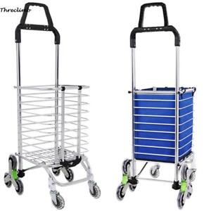 Upgraded Folding Shopping Cart Stair Climbing Cart Grocery Laundry Utility Car